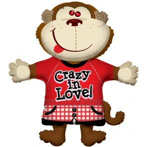 "Foilballoon XL ,  36""  - monkey crazy in love"