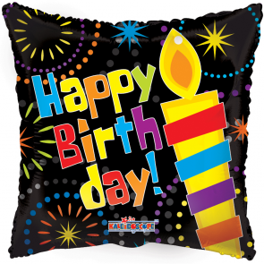 """Foilballoon square  ,  18""""  -  hb big candle"""