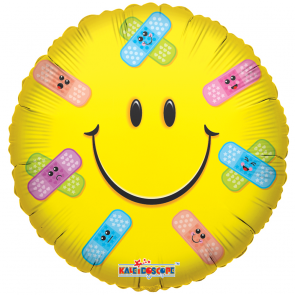 "Foilballoon round  ,  18""  -  sv  smiley band-aids"