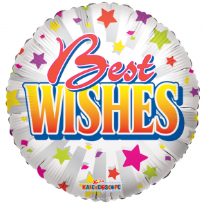 "Foilballoon round  ,  18""  -  sv best wishes stars"