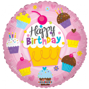 "Foilballoon round  ,  18""  -  sv birtday cupcakes"