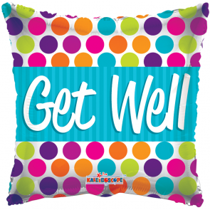 "Foilballoon square  ,  18""  -  sv get well dots"