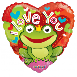 "Foilballoon heart  ,  18""  -  i love you frog"