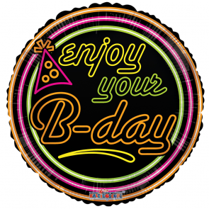 "Foilballoon round  ,  18""  -  enjoy your b-day neon gellibean"