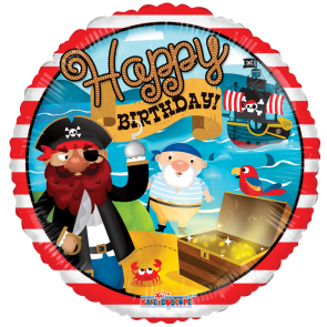 "Foilballoon round  ,  18""  -  birthday pirate treausre"