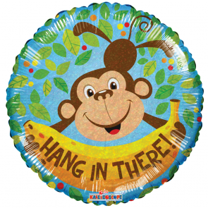 "Foilballoon round  ,  18""  -  hang in there monkey holographic"