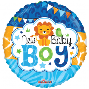 "Foilballoon round  ,  18""  -  baby boy jungle gellibean"