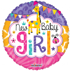 "Foilballoon round  ,  18""  -  baby girl jungle gellibean"