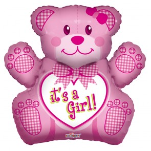 "Foilballoon shape , 28"" - baby girl bear"