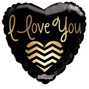 "Foilballoon heart  ,  18""  -  ily golden chevron"