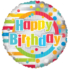 "Foilballoon round  ,  18""  -  happy birthday dots & lines"
