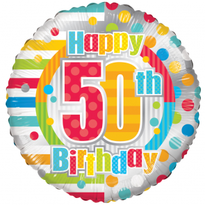 "Foilballoon round  ,  18""  -  happy 50th birthday dots & lines"