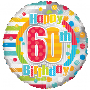 "Foilballoon round  ,  18""  -  happy 60th birthday dots & lines"