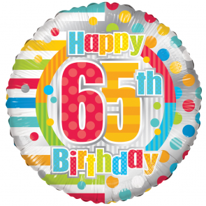 "Foilballoon round  ,  18""  -  happy 65th birthday dots & lines"