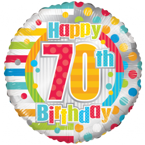 "Foilballoon round  ,  18""  -  happy 70th birthday dots & lines"