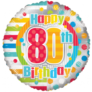 "Foilballoon round  ,  18""  -  happy 80th birthday dots & lines"