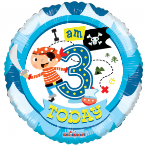 "Foilballoon round  ,  18""  -  3rd birthday boy"