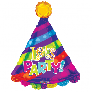 "Foilballoon shape  ,  28""  -  let's party! party hat shape"