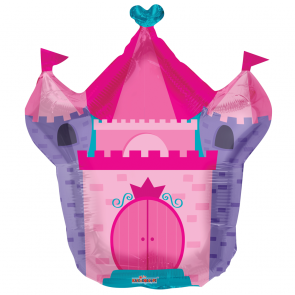 "Foilballoon shape  ,  28""  -  pink castle shape"