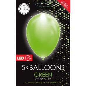 "5 LED balloons 12"" green"