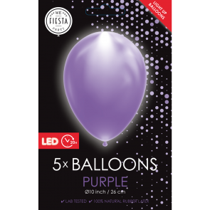 "5 LED balloons 12"" purple"
