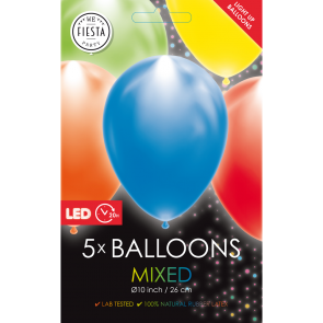 "5 LED balloons 12"" mixed"