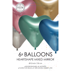 6 Heartshape Chrome / Mirror balloons, 12'' - mixed colors