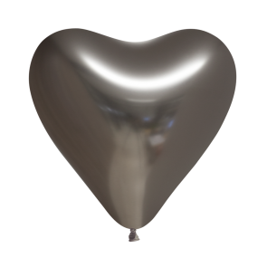 6 Heartshape Chrome / Mirror balloons, 12'' - space grey