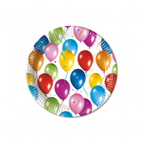 10 Paper Plates Large  23cm - Balloons Fiesta