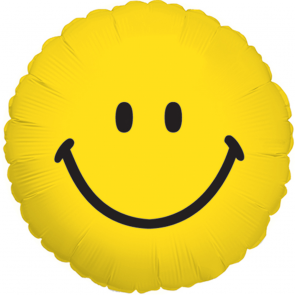 "Foilballoon round  ,  18""  -  sv smiley face"