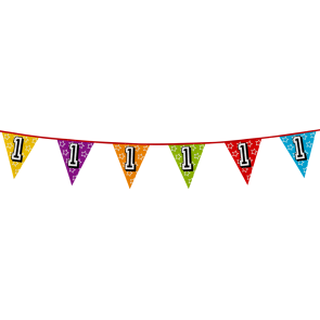 Bunting 'holographic' 8m '1' - size flags: 20x30cm
