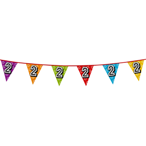 Bunting 'holographic' 8m '2' - size flags: 20x30cm