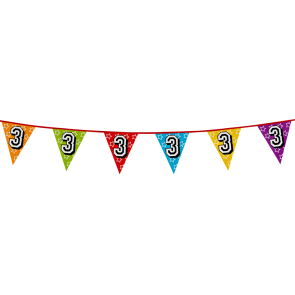 Bunting 'holographic' 8m '3' - size flags: 20x30cm
