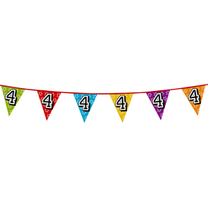 Bunting 'holographic' 8m '4' - size flags: 20x30cm
