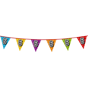 Bunting 'holographic' 8m '6' - size flags: 20x30cm