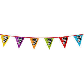 Bunting 'holographic' 8m '7' - size flags: 20x30cm