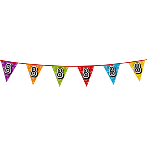 Bunting 'holographic' 8m '8' - size flags: 20x30cm