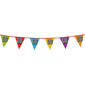 Bunting 'holographic' 8m '10' - size flags: 20x30cm
