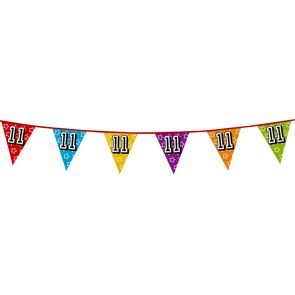 Bunting 'holographic' 8m '11' - size flags: 20x30cm