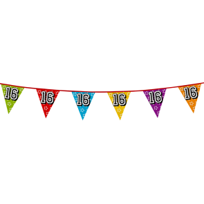 Bunting 'holographic' 8m '16' - size flags: 20x30cm
