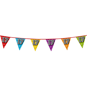 Bunting 'holographic' 8m '17' - size flags: 20x30cm