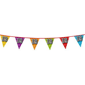 Bunting 'holographic' 8m '19' - size flags: 20x30cm
