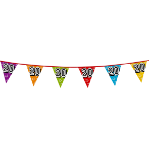 Bunting 'holographic' 8m '20'- size flags: 20x30cm