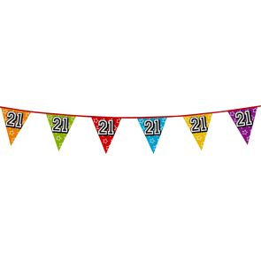 Bunting 'holographic' 8m '21' - size flags: 20x30cm