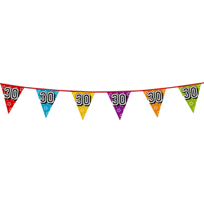 Bunting 'holographic' 8m '30' - size flags: 20x30cm