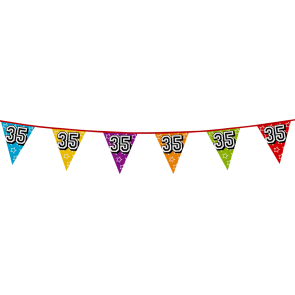 Bunting 'holographic' 8m '35' - size flags: 20x30cm