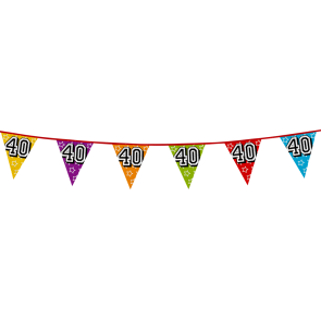 Bunting 'holographic' 8m '40' - size flags: 20x30cm