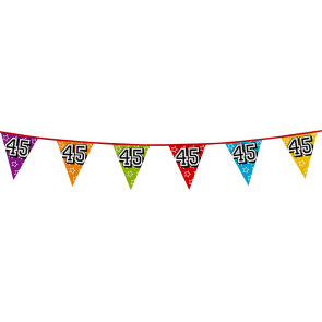 Bunting 'holographic' 8m '45' - size flags: 20x30cm