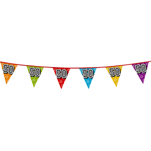 Bunting 'holographic' 8m '50' - size flags: 20x30cm