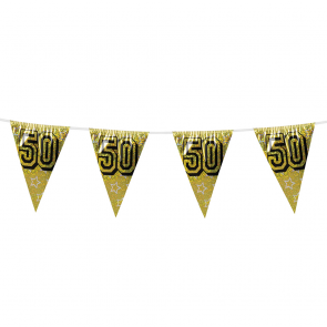 Bunting 'holographic' 8m '50' gold - size flags: 20x30cm